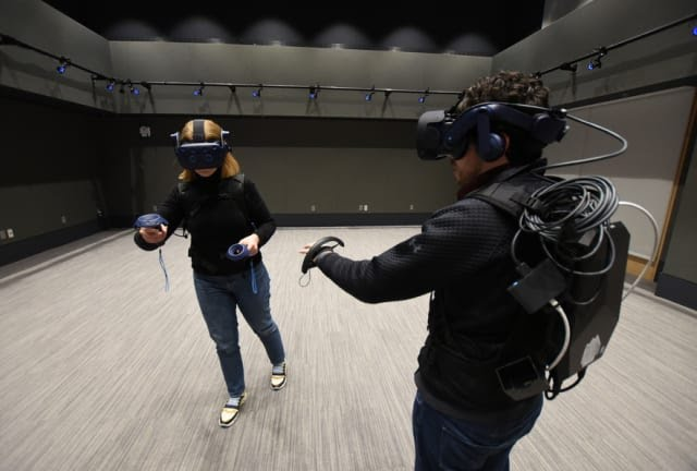 The MIT.nano's Immersion Lab enables researchers to harness the power of AR/VR. (Image courtesy of MIT/Thomas Gearty.)